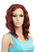 SETPRETTYXG Reddish Auburn Colour Medium Length 36cm Wavy Curly Hairstyle Synthetic Lace Front Wigs