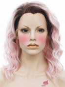 SETPRETTYXG Dark Brown Rooted Lolita Pink Colour Medium Length Curly Celebrity Style Synthetic Lace Front Wig Cosplay