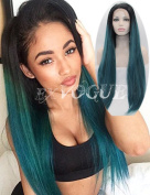 Exvogue Fashion Blue Ombre Synthetic Lace Front Cosplay Long Straight Hair Wig with Black Roots Side Part Heat Resistant
