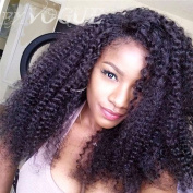 Exvogue Synthetic Lace Front Cosplay Kinky Curly Black Hair Wig for African American Women Invisible Part Heat Friendly #1B Colour
