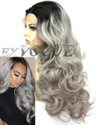 Exvogue Ombre Grey Lace Front Wig with Black Roots Natural Hairline Synthetic Hair Wavy Wigs for Women Heat Friendly 100% Fibre