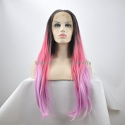 Heat Resistant Fibre Hair Wigs Mermaid Dark Brown Root Ombre Pink To Purple Natural Straight Synthetic Lace Front Wig 3 Tones Glueless Women Wig