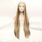 Long Straight Mixed Colour Blonde Brown Synthetic Lace Front Wig With Heat Resistant Two Tone Glueless Replacement Wigs