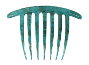 Caravan French Twist Comb Hand Painted in Turquoise and Gold Vine