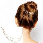 AKOAK Punk Hair Cuff Pin Clip 2 Combs Multilayer Tassels Artificial Pearl Chains Decorate Hair Clip Headwear Edge Clips Boho Meatball Head Accessories