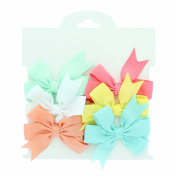 My Lello Small 6.4cm Girls Hair-Bow Boutique Pinwheel Mixed Variety 6 Pack Seafoam/White/Peach/Coral Rose/Lemon Yellow/Aqua