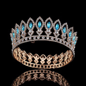 FUMUD Large Wedding Pageant Tiara Diadem 5.3cm Blue Rhinestone Crown Gold bridal Crown