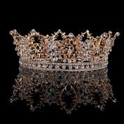 FUMUD Bridal Jewellery Baroque Tiara Crown Women Vintage Headband Rhinestone Crystal Crown