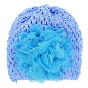 PETMALL 1pc Blue Newborn Baby Girls Cute Kid Toddler Infant Winter Warm Big Flower Crystal Crochet Knitted Hat Cap Beanie Headwear for 3-12M E059