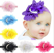 PETMALL 7PCS Baby Girl's Bow Turban Headbands for Newborn Infants and Toddlers E041
