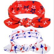 PETMALL 2pcs Baby Cotton Headband Girls Knotted Bow Head Wraps Summer Hair Bands Baby Headband Kids Hair Accessories E050