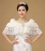 CIMC LLC Women's Luxury Wedding High-end Faux Fur Hollow Crochet Lace With Diamonds Bowknot Wedding Bridal Shawl Wrap Bridal Shrug Formal Party Bolero