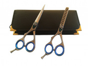 Left Handed Professional Hairdressing Lefty Barber Salon Scissors Cutting Plain Thinner Shears Blue Ringed Set 14cm Japanese Steel + Black Case