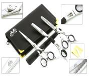 Hairdressing Barber Salon Scissors 15cm , Thinning Scissors 15cm , Thinning Razor Set With Pouch, SILVER Colour