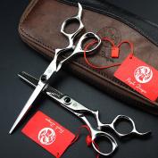 Purple Dragon 15cm Personality Bending Handle Black Rotating Screw Barber Hair Cutting and Thinning Scissors Set