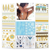 Metallic Flash Tattoos,Konsait 196 Designs - Jewellery Bling Temporary Tattoos & Body Art Indian Tattoos White Lace Tattoo Gold Silver Holiday Gift Present-14 Sheets