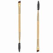 Bolayu 1PCS Makeup Bamboo Handle Double Eyebrow Brush + Eyebrow Comb