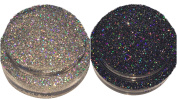 Calavera Cosmetics Holographic Silver & Black Glitter For Eyeshadow / Eye Shadow / Eyes / Face / Lips / Nails Makeup Glitter Dust Shimmer - .  NYX - Loose Cosmetic Glitter / Nail Art