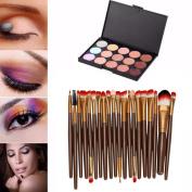 Concealer Palette + Brush,BeautyVan 15 Colours Makeup Concealer Palette Professional + 20 Brush