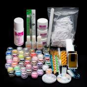 Lookatool 26Acrylic Nail Art Tips Powder Liquid Brush Glitter Clipper Primer File Set Kit