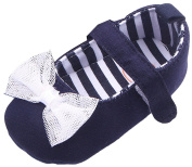 La Vogue Baby Kids Flat First Walkers Shoes Canvas Soft Bowknot Sneaker Shoes Navy Blue