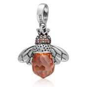 Queen Bee Charm with Crystal 925 Sterling Silver Animal Charm Insect Charm for Pandora Charm Bracelet