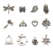 Bingcute 100Pcs Wholesale Bulk Lots Tibetan Silver Plated Mixed Pendants Charms Jewellery