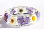Handmade Real Flower Botanical Garden Resin Bangle Bracelet.{G-42}Size 64mm,height 23mm.Free USA shipping.