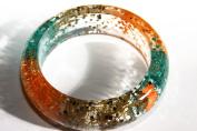 Handmade Real Flower Botanical Garden Resin Bangle Bracelet.{33}Size 64mm,height 23 mm.Free USA shipping.