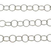 Sterling Silver Hammered 5mm Round Cable Chain Italy Unfinished Bulk 0.3m