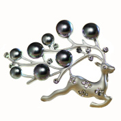 Brooch Pin- Fashion Imitation Pearl Elk Chest Buckle Shawl Clasp Crystal Swan Fashion Jewellery Pin Scarves Buckle for Women Girl Xmas Gift