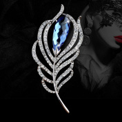 Fashion Crystal Feather Brooch Pin Scarves Buckle Shawl Clasp Luxury Flower Brooch Accessories for Women Girl Xmas Gift