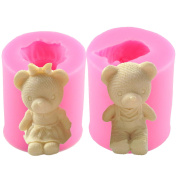 Mujiang Bear 3D DIY Candle Making Moulds Set Of 2