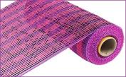 25cm x 9.1m Deco Poly Mesh Ribbon - Hot Pink Purple Foil Stripe : RE1363JY