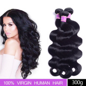 Brazilian Virgin Hair Body Wave 3 bundles, AliBarbara 8A 100% Unprocessed Virgin Human Hair Extensions Natural Colour