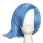 Yuehong Cosplay Wig Blue Short Fashion Heat Resistant Hair For Adult Women Halloween