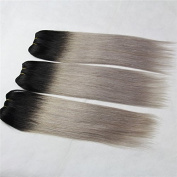GEX-10A 25cm *3 Bundle Piano Colour T Colour Brazilian Human Hair Weft Remy Hair Ombre Hair Extension Straight 1B#+Grey