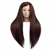 Coastacloud 60cm Professional Cosmetology Mannequin Manikin Hairdressing Training Head with 80% Real Human Hair