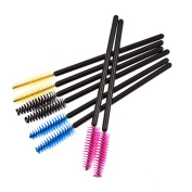 GOODBUYER 50 Pcs Makeup Disposable Eyelash Mini Brushes Mascara Wand Applicator Spooler