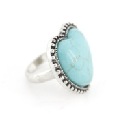 Vintage Feel Silver Tone Heart Shape Turquoise Stone Ring