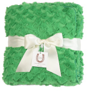 Max Daniel Green Cosy Twist Baby Blanket - Double Sided - Piped Edge
