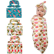 WZT 3 set Swaddle Sack, Swaddle Cocoon Sleep Sack Swaddle Newborn Blanket Headband for Baby
