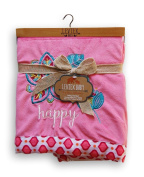 "Levtex Baby Blanket - Pink ""Happy"" Flower - 80cm x 100cm"