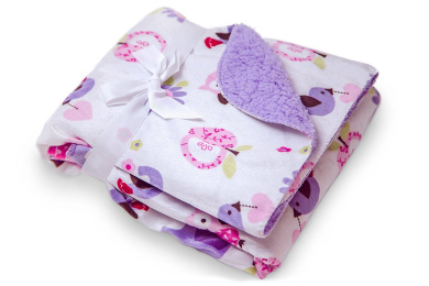 Animal Design Baby Soft Mink Printed 80cm x 80cm Blanket with Purple Sherpa Backing