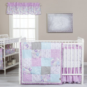 Trend Lab Grace 5 Piece Crib Bedding Set, Purple, Blue, Grey and White
