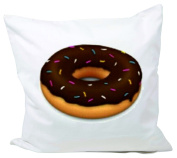 """Cushion Cover 40x40 """"Chocolate Dounat Emoji with colourful sprinkles"""" Pillowcase- 40 x 40 cm- Pillow- Smiley- Christmas Gift"""