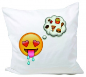 "Cushion Cover 40x40 ""Hungry smiley face with heart eyes thinking of fast food, burgers, fries and pizza"" Pillowcase- 40 x 40 cm- Pillow- Smiley- Christmas Gift"