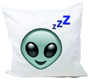"""Cushion Cover 40x40 """"Alien head with ZZZZZ and Müdem view"""" Pillowcase- 40 x 40 cm- Pillow- Smiley- Christmas Gift"""