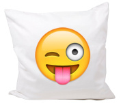 """Cushion Cover 40x40 """"Face with outstretched tongue and winking eye"""" Pillowcase- 40 x 40 cm- Pillow- Smiley- Christmas Gift"""