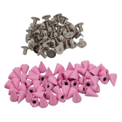 BQLZR Pink Metal Studs Cone Punk Spikes Spots Rivet Screwback Punk Leathercraft DIY Pack of 50